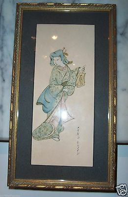 Beautiful Japanese Geisha Artist Signed Vintage Antique Watercolor Painting