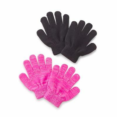 WonderKids Toddler Girl's 2-Pairs Stretch Gloves Black and Pink Size Ships Free
