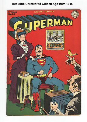 Superman #35 - Unrestored Very Scarce 1945 Golden Age Superman! Beautiful Book