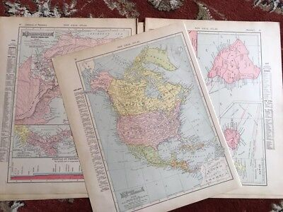 Lot 0f 7 1909 Antique Atlas Maps Of Multipl Countries. Double Sided Rand McNally