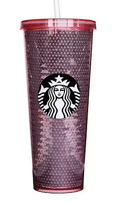 Starbucks 2017 Pink Rose Gold Sequins 24 oz Cup Limited Edition Tumbler
