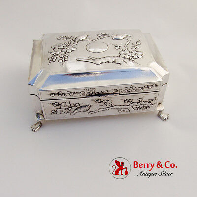 Antique Japanese Sterling Silver Humidor Box Bird and Cherry Blossoms 1900