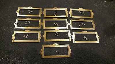 7 Vintage Style Brass Plated Metal Index Card Catalog File Drawer Label Holders