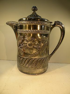 shlf LARGE ANTIQUE SILVERPLATE PITCHER WITH WHITE ENAMEL INSULATED LINING