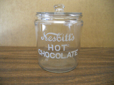 Nesbitts Hot Chocolate Glass Jar Container Antique Store Advertising Bakers