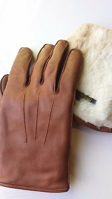 Vintage leather gloves,rabbit lined,Fownes label,men's size 8 made in England