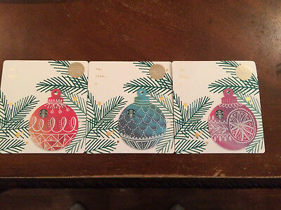 "Starbucks  2017  ""SET OF  3 CHRISTMAS DIE CUT ORNAMENTS "" CARDS"