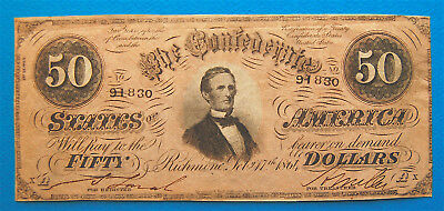 Fifty Dollar $50 1864 Confederate Currency Davis