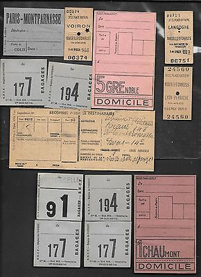 VINTAGE Lot of 13 WWII SOME 1944 TICKET BAGGAGE RAILROAD TRAIN FRANCE RARE