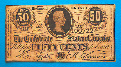 FIFTY CENT 50c 1864 CONFEDERATE CURRENCY DAVIS