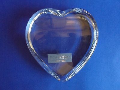 Vintage Heart Shaped Crystal Glass Paperweight Fostoria Usa Glass