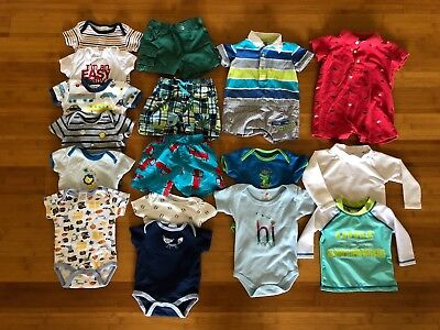 Baby Boys Short Sleeve, Shorts and Swimwear 17-Piece Bundle, Size 3-6 months