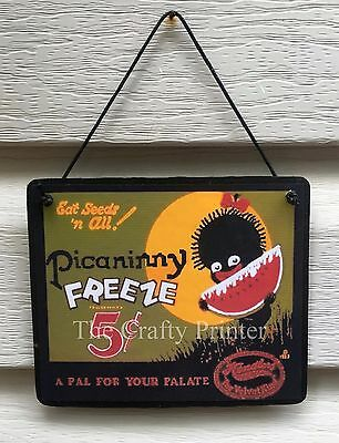 Wood Decorator Plaque -  Black Americana Vintage Watermelon Label