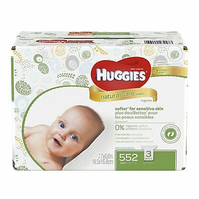 Huggies Natural Care Baby Wipes, Sensitive, Unscented, 3 Refill Packs, 552 Count