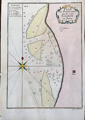TWO (2) 18th Century Maps Of PORTENDICK, MAURITANA Africa w/ Compas & Navy Ships