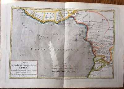 West Africa Amazing Large Bonne Map Hand-Colored WOW!!!