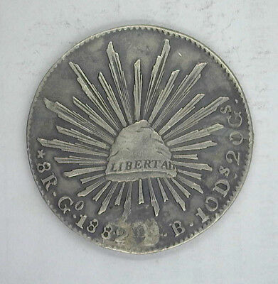 MEXICO 1882 Go (S)B 8 REALES - HOLED AND PLUGGED