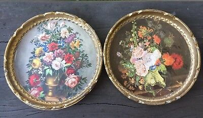 Vintage Set of 6 Tiffany & Co. New York Gold Floral Coasters Made in Italy