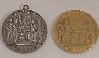 US Steel Corp 50 Years Service 14K Gold Medal + 40 Yr Sterling Silver Harry King