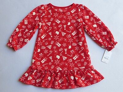 """NWT CARTER""""S JUST ONE YOU Girls Size 3T Christmas Red Fleece Nightgown Pajama"""