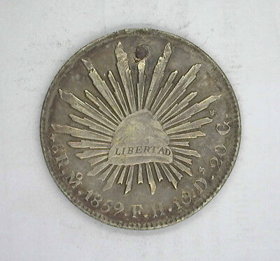 MEXICO 1859 Mo FH 8 REALES - HOLED AND PLUGGED