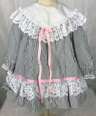 "VTG Little Girl's Gorgeous Lace Striped Dress Chest:24"" Length:16"" Christmas"