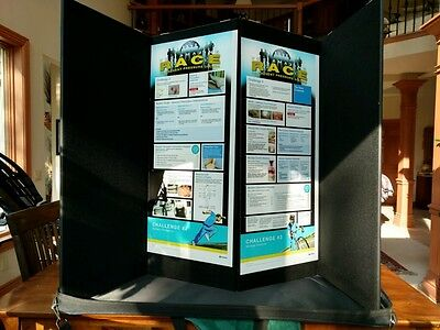 """Pactiva Trade Show Display - 4 Panel Tabletop 14""""x35"""" Panels Black (2 available)"""