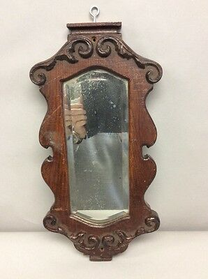 Antique Oak Beveled Glass Mirror 18 Inches Tall
