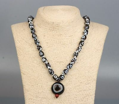 Chinese Exquisite hand-carved dzi beads necklace / Pendant