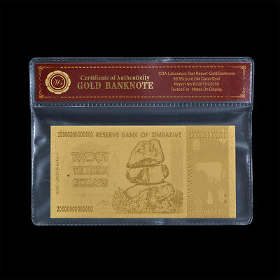 WR Zimbabwe 20 Trillion Dollars 24K GOLD Foil Banknote Collection Gifts /w COA