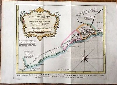 1757 Antique Atlas Map West Africa Volta River, Bellin, Hand-Colored WOW!