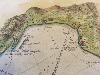 1785 INDONESIA Bonthain Bay Antique Atlas Map By Hogg Hand-Colored