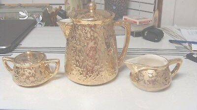 3 pcs Vintage McCoy 24K Gold Porcelain Weeping Gold Brocade Tea Coffee