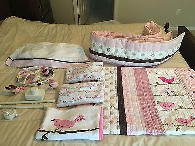Pottery Barn Kids Penelope Bird Crib Bed Bedding Set Mobile Sheets Used