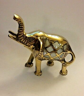 """Brass Elephant Figurine White Iridescent Shell Inlay Made In India 3-3/4"""" Tall"""