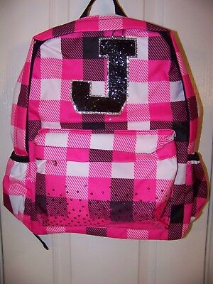 NWT Justice Backpack, Initial Letter J, Pink and Black, new w tags, Fantastic!