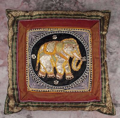 """ornate decorative ELEPHANT PILLOW sequins embroidered gold lame 14"""" square"""