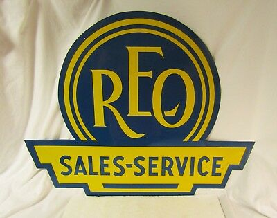 Vintage Original REO Sales Service Double Sided Diecut Tin Hanging Advertising S
