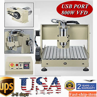 USB 4 Axis 3040 800W CNC Router engraving 0.8KW spindle VFD Mill/Drill Mach3 USA
