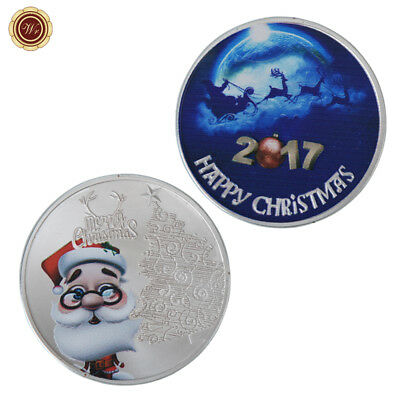 WR 2017 Merry Chirstmas Santa Claus SILVER Commeorative Coin Xmas Gifts for Kids