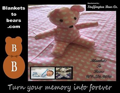 """Baby keepsake - Turn your Baby's blanket into a 12"""" Bear"""