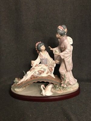 Lladro Springtime In Japan Figurine #1445 With Stand Retired 1983