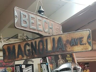 Antique Porcelain, Enamel Street Sign, Double Sided Beech  St. And Magnolia Ave.