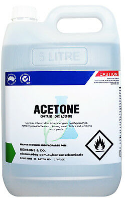 100% Pure Acetone 5 Litre - Gel Acrylic Polish Remover - Thinner - Solvent 5L