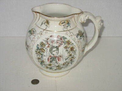 Antique Porcelain Transferware Pitcher with Buy a Puppy Message Unusual