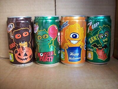 2017 Halloween Monster 7.5 oz soda pop cans - A&W, Canada Dry, 7 UP & Sunkist