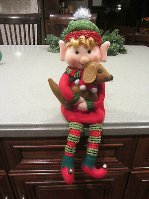 Happy sitting Elf with dangling legs & his Red/Brown DACHSHUND Christmas Decor!