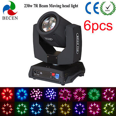 230w 7R sharp beam moving head light 16CH touch screen stage for Dj Party 6pcs