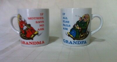Cute set of two Grandma and Grandpa china cups