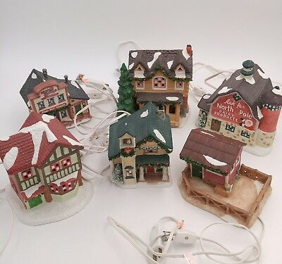 Lot of 6 Authentic Christmas Valley Porcelain Lighted Village Houses